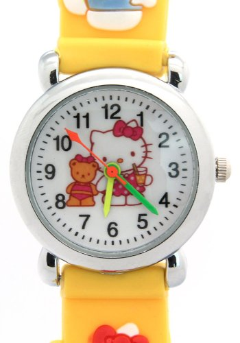 TimerMall Hello Kitty Pattern Round Dial Yellow Band Waterproof Children's Watches