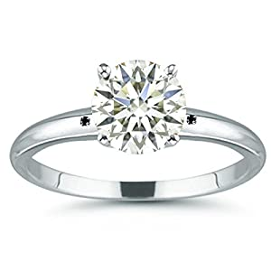 RINGJEWEL 2.88 ct VVS1 Round Moissanite Solitaire Silver Plated Engagement Ring Off White Color Size 7