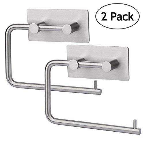 HOMEIDEAS Self Adhesive Toilet Paper Roll Holder Pack of 2 brushed nickel Stick On Sticky Tissue Roll Hanger SUS304 Stainless Steel Bathroom Towel Dispenser