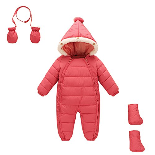 - Mud Kingdom 3 Piece Baby Toddler Girl All in One Snowsuit Romper Winter 3-12M Pink