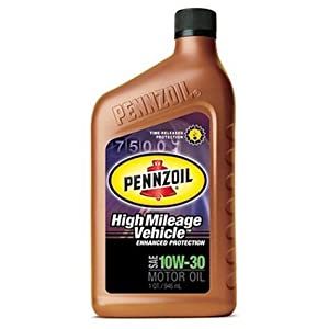 Pennzoil High Mileage Vehicle 10W30 Motor Oil - 1 Quart Bottle, Pack of 6