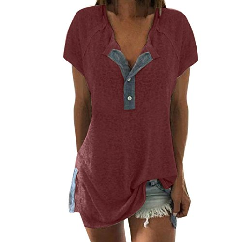 Rucan Clearance Women Loose Short Sleeve Button Tops Casual Blouse Henley Tunic Shirts (D, Large) ()