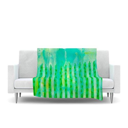 80 by 60 Kess InHouse EBI Emporium Fancy This Green Teal Fleece Throw Blanket