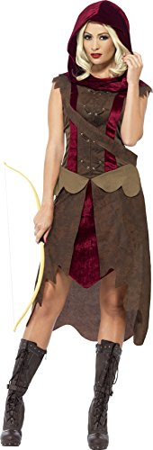 Smiffy's Women's Huntress Costume, Dress, Hood and Belt, Tales of Old England, Serious Fun, Size 14-16, (Huntress Costume Amazon)