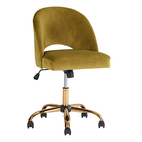 Stylish Armless Velvet Modern Swivel Desk Office Chair Golden Palm
