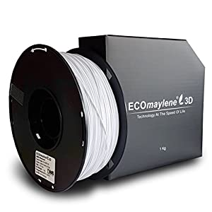 ECOmaylene3D ABS Filament 1Kg Spool Cotton Candy White 1.75mm Dimensional Accuracy +/- 0.05 mm   Consistent 3D Printing, Great Density & Layer Bonding, Low to No Warping, Low to No Odor & Easy To Use