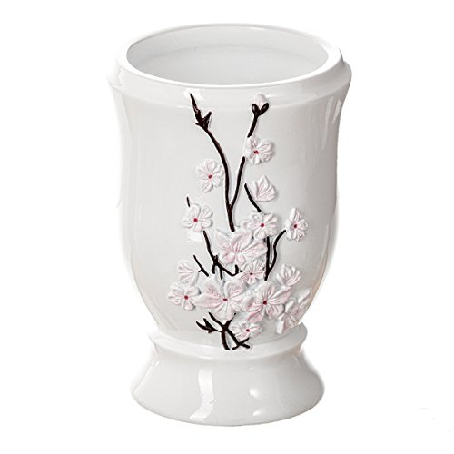 Creative Scents Vanda Bathroom Tumbler Cup, Decorative Rinse Cup for Water- Durable Resin Design- Best Tumblers for Mouthwash/Rinsing (White)