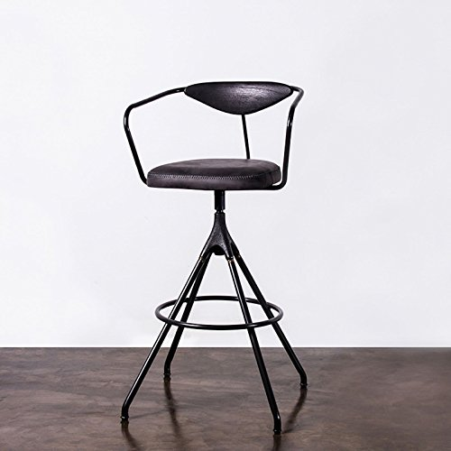 Akron Bar Stool in Storm Black Leather and Cast Iron Base (Brass Stool Oak Bar)
