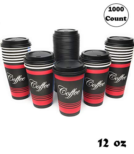 (Restaurant Grade 12 Oz Paper Coffee Cups with Black Dome Lids - 1000 Count By EcoQuality Disposable Cups For Hot and Cold Drinks. Great For Tea, Soda, Shops, Cafes, and Concession Stands.)