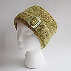 Hand Made Green Felted Wool-Cotton Tweed Retro Cool Buckled Winter Hat ea616b8658dc