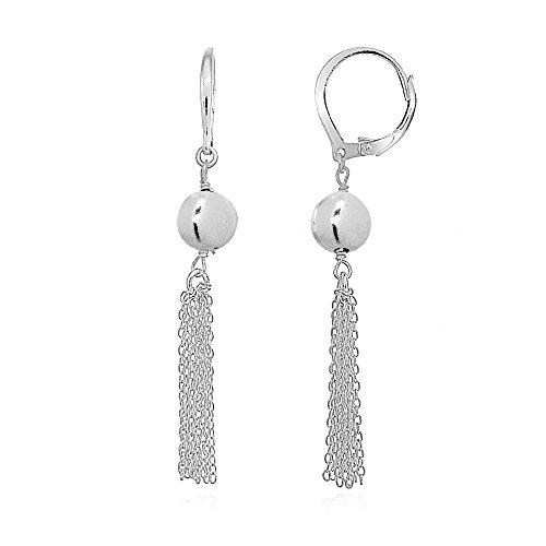 Sterling Silver Dangling Bead Tassel Long Drop Leverback Earrings -