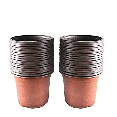 KINGLAKE 100 Pcs 4 Plastic Plants Nursery Pot/Pots Seedlings Flower Plant Container Seed Starting Pots