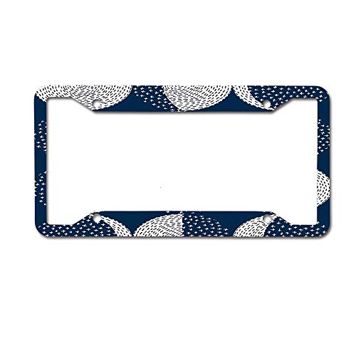 BeautyToiletLidCoverABC Moon Phases / Repeat Pattern Universal License Plate Holder Bracket, Cute Car Accessories Metal License Plate Frame