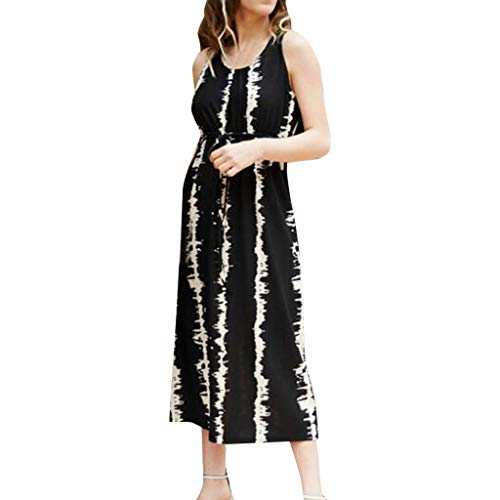 (Caopixx Women's Striped Sleeveless Cocktail Party Pencil Dress Bandage Maxi Long Tank Dresses Black)