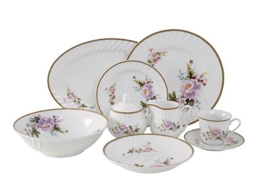 Ciera 45-Piece Timeless Rose Dinner Set with Gold Trim; Vintage (Rim Porcelain Dinnerware)