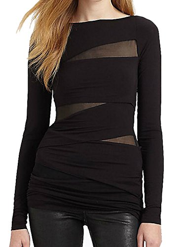 Tulucky Women's Bandage Tops Long Sleeve Mesh Patchwork Nightclub Shirts (XXL, (Mesh Blazer)