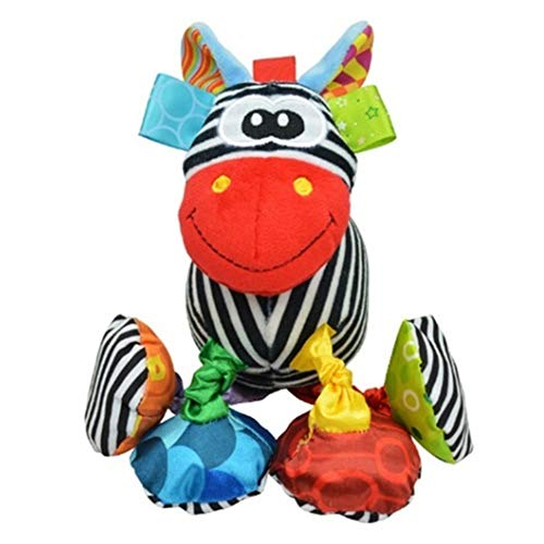 TOBABYFAT Plush Toys Stroller Hanging Bell Rattles Doll Baby Plush Toys Stuffed Animal (Zebra)