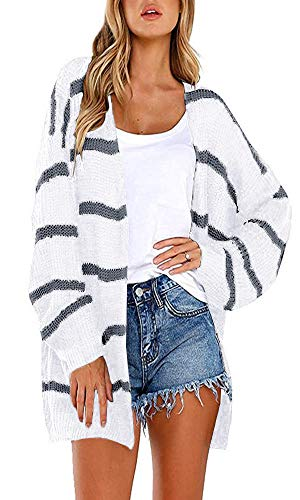 Hestenve Womens Stripe Knit Cardigan Sweater Winter Slouchy Jumper Coat with Pocket (X-Large, White)