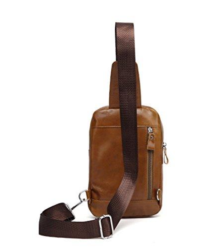 Leder-Brust-Tasche Fahrrad Fahren Männer Sling Bag Schulter Outdoor Casual Rucksack Crossbody Bag Travel Daypacks 2