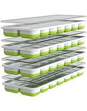 Oliver's Kitchen Iskubsbrickor – 4 x set isformar – flexibel bas för isbitar med lätt frigöring – spara frysutrymme med stapelbara lock – diskmaskinssäker – BPA-fria isformar i silikon