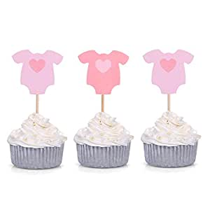 Set of 20 Pink Baby Girl Jumpsuit Cupcake Toppers Baby Shower Food Picks - by Giuffi