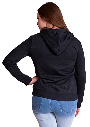 Charcoal Ladies Plus Size Soft Drawstring Hoodie Kangaroo Pocket
