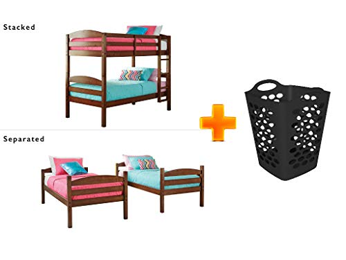 (Better Homes and Gardens* Converts to 2 Stand-Alone Twin Over Twin Wood Bunk Bed (Bed Only) in Light Cherry with 2 Bushel Flex Hamper - Bundle Set)