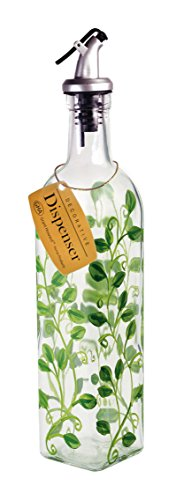 Grant Howard Vines Hand Painted Glass Oil and Vinegar Cruet, 16 oz, Multicolor (Hand Painted Vine)