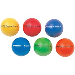 Champion Sports High Bounce Balls: Rhino Skin Super 90 Bouncy Ball Set for Playground, PE or Kids Outdoor Games & Sports, Six 3.5 Inch Small Balls