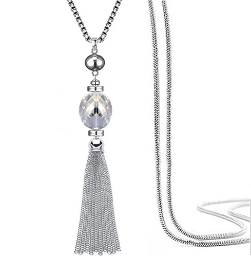 Perfect 4U Tassel Sweater Snake Chain Adjustable Drop Pendant Metal Alloy Silver Plated for Girl