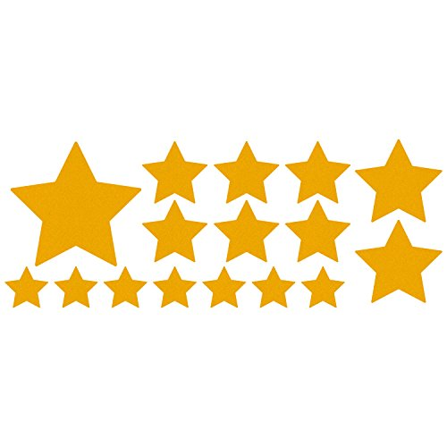 LiteMark Reflective Assorted Stars Sticker Decals for Helmets, Bicycles, Strollers, Wheelchairs and More - Pack of 16