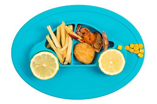 Qshare Toddler Plates, Portable Baby Plates for Toddlers, BPA-Free FDA Approved Strong Suction Plates for Toddlers, Dishwasher and Microwave Safe Silicone Placemat 11x8x1''