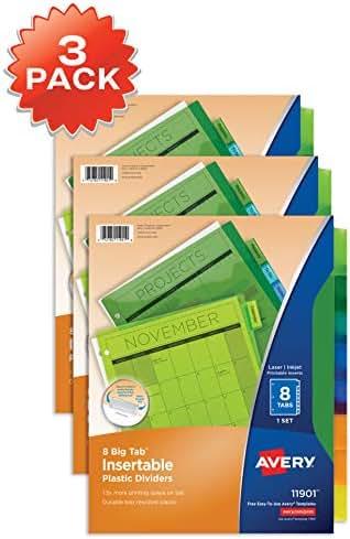 Avery 8-Tab Plastic Binder Dividers, Insertable Multicolor Big Tabs, 3 Sets (11901) - 71901