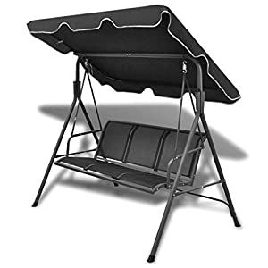 mewmewcat 3 Seat Garden Swing Chair with Canopy Black