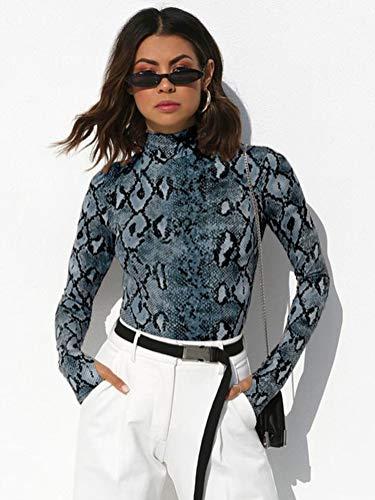 Modello Sexy Serpente Body Aderente Tuta Tuta Blu da Slim Fit B Donna Manica da Body Regolato Alto Lunga Shirt Shallgood Cullo Tuta Tuta da T wOqfvz