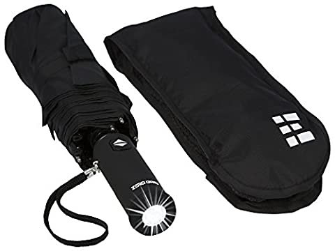 Compact & Automatic Travel Umbrella w/Flashlight Handle (Black) (Corrosion Blocker)