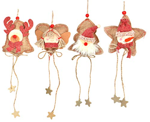 Love Wind Hanging Heart Christmas Home Decor 8pcs Rustic Burlap Moose/Snowman/Santa Claus/Bell by Love Wind (Image #1)