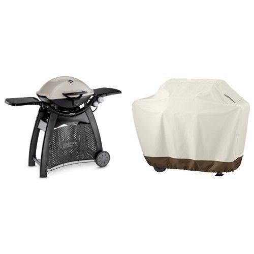 Weber 57060001 Q3200 Liquid Propane Grill & AmazonBasics Grill Cover - Medium by Weber