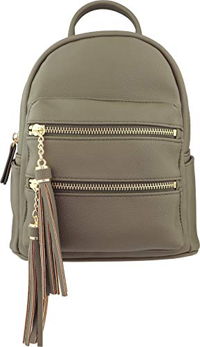 (B BRENTANO Vegan Multi-Zipper Top Handle Mini Backpack with Tassel Accents (Martini Olive))
