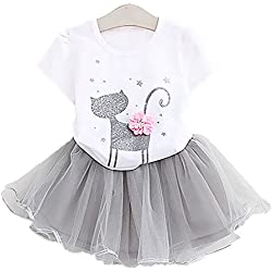 2Bunnies Little Girls Toddler Baby Girl 2 Piece Sparkle Cat with 3D flower Top Tutu Chiffon Skirt Sets (3T, White)