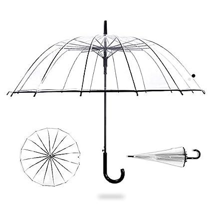 MEIDI Home Paraguas Grande Cara 16 Viento de Hueso y Paraguas a Prueba de Lluvia Paraguas