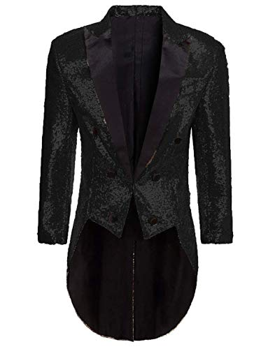 Mens Tailcoat Jacket Costume Halloween Black Glitter Sequins Blazer Jacket for Circus
