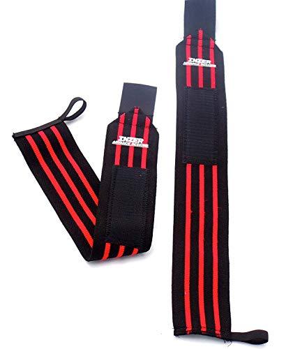 "Inzer Iron Wrist Wrap Z (Pair) - Powerlifting, Weightlifting, Crossfit (Red, Medium (20""))"