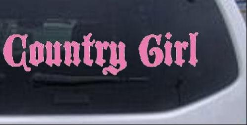 Country Castles - Country Girl Black Castle Font Girlie Car Window Wall Laptop Decal Sticker -- Pink 6in X 1.4in