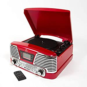 GPO Memphis Retro 4-in-1 Music Centre with 3-Speed Vinyl usb Turntable Record Player, CD Player, FM Radio and Built-in Stereo Speakers – Red