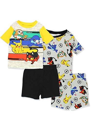 Pokemon Pikachu Boy's 2fer 4 Piece Cotton Pajamas Set (6, Grey/Multi) ()