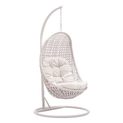 Delicieux Amazon.com : MOJO SOLUTIONS  Daydreamer Wicker Patio/Garden/Hotel Resort  Hanging Oval Swing Chair With Cushions Ivory White : Garden U0026 Outdoor