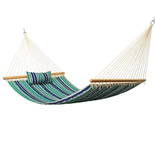 East Coast Hammocks Large Polyester Quilted Hammock with Pillow - Blue and Green Stripe