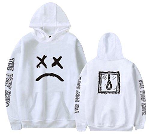 (Men Hoodie Rapper Sad Face Sweatshirt Pullover Jacket Boy Jumper (White, M))