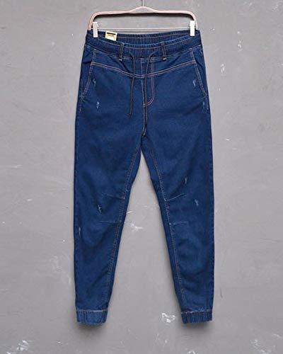 Azul Slim Jeans Boyfriend Elasticos Guiran Fit Oscuro Hombre Jogger Pantalones Vaqueros gxzSUO